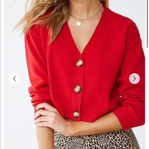 Cropped Red Cardigan Sweater